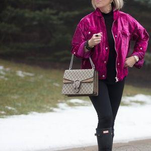Free People Pink Trucker Jacket Coat Zip Up NWT